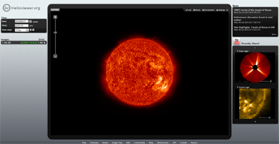 Screenshot der Webseite Helioviewer.org